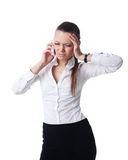 Tired young business woman talk on phone isolated. Sexy young Tired young business woman talk on phone isolated Royalty Free Stock Images