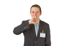 Tired young businessman yawning Stock Photos