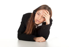 Tired young customer service operator girl Stock Images