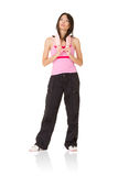 Tired young girl of fitness Stock Image