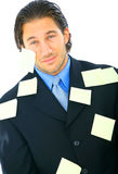 Tired Young Male With Many Post It Stock Photo