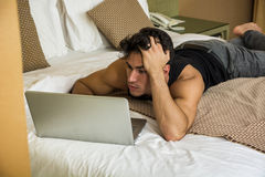 Tired Young Man Sleeping Next Laptop Computer Stock Images