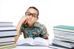 Tired young student. Girl isolated on white background Royalty Free Stock Photos