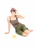 Tired young woman with sponge sitting on the floor Stock Photography