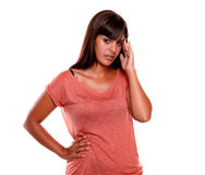 Tired young woman standing with headache Royalty Free Stock Photo