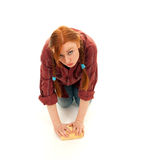 Tired young woman washing floor Stock Images