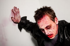 Tired Zombie. Exhausted bloody zombie leaning against a wall Royalty Free Stock Photography