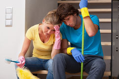 Tiredness after household duties. In huge house royalty free stock photos
