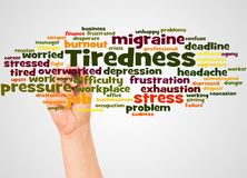 Tiredness word cloud and hand with marker concept. On white background stock photos