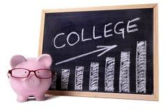 Tirelire avec le diagramme de l'épargne ou d'honoraires d'université image libre de droits
