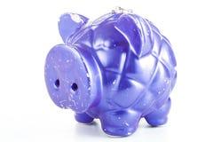 Tirelire bleue Illustration de l'épargne d'argent Banque métallique moderne de porc Images libres de droits