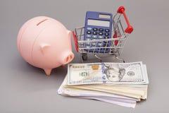 Tirelire, calculatrice en coupant le chariot avec l'argent de billets de banque Image stock