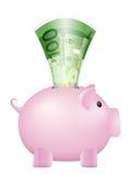 Tirelire cent billets de banque d'euro Photographie stock