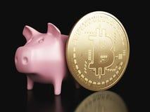 tirelire 3d et Bitcoin Concept de Cryptocurrency Photos stock
