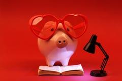 Tirelire dans l'amour avec les lunettes de soleil rouges de coeur lisant un livre et une lampe noire brillante sur le fond rouge Images stock