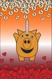 Tirelire de porc abondant d'amour heureuse Images libres de droits