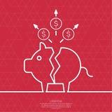 Tirelire de porc cassé illustration libre de droits
