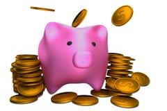 Tirelire et argent Photo libre de droits