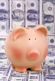 Tirelire et billets d'un dollar Photographie stock libre de droits