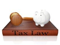 Tirelire et juge Gavel de livre de droit fiscal Images stock