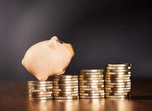 Tirelire et pièces de monnaie Photographie stock libre de droits