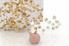 Tirelire et puzzle avec les pièces de monnaie en baisse Photo stock