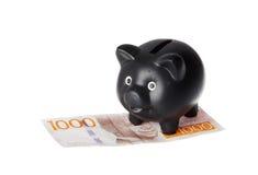 Tirelire noire sur le billet de banque Image libre de droits