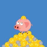 Tirelire rassemblant des pièces de monnaie Illustration mignonne de dessin animé Image libre de droits