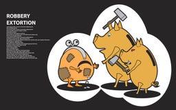 Tirelire Rob de porc d'autres caractères Image libre de droits