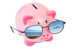 Tirelire rose avec des lunettes de soleil photo stock