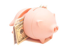Tirelire rose avec les billets de banque internationaux Images stock