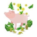 Tirelire rose de porc avec une pile des pièces d'or illustration libre de droits