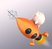 Tirelire sur une fusée Photo stock