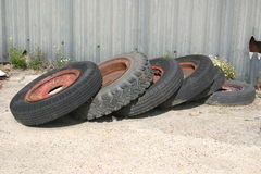Tires 1. Six tires on the ground stock image