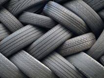 Tires. Old tires piled in a heap Stock Photos