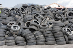 Tires. Used car tires stored for recycling Stock Photo