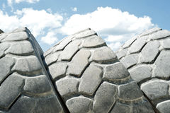 Tires. For front loader in gravel pit Royalty Free Stock Photos