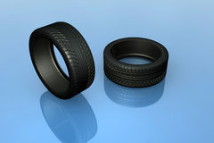 Tires. A couple of high res realistic vehicle tires rendered in 3dsmax Stock Photo