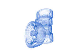 Tires (3D xray blue on white) Stock Photography