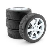 Tires with aluminium discs Stock Photography
