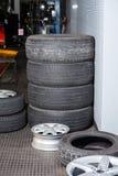 Tires At Auto Repair Shop Stock Photo