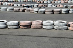 Tires on the autodrome Stock Photo