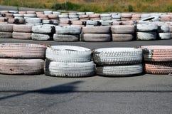 Tires on the autodrome Royalty Free Stock Photos