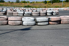 Tires on the autodrome Stock Images