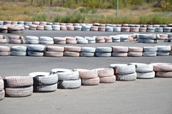 Tires on the autodrome Stock Image