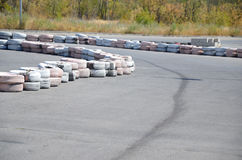 Tires on the autodrome Stock Photography