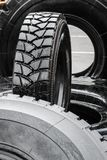Tires are big truck, tractor or bulldozer. Background of tyre royalty free stock image