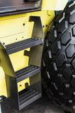 Tires are big truck, tractor or bulldozer. Background of tyre stock photos