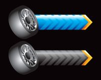 Tires on blue and black arrows Royalty Free Stock Image