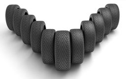Tires of the car . Concept design. 3D render Illustration Royalty Free Stock Photography